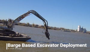 Draga de excavadora a base de barcazas: cabezal de corte de dragado