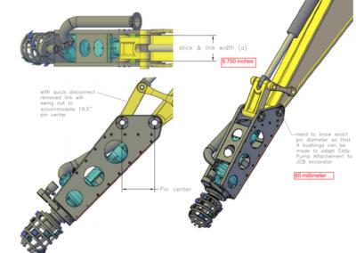 Configuração de draga de escavadeira